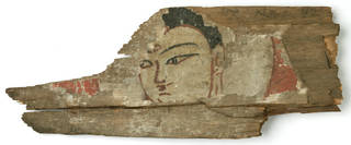 Photo of Fragment of wooden panel, about 500 AD, Khadalik, painted wood. Museum no. LOAN:I A SURVEY.3. © Victoria and Albert Museum, London. On loan from the Government of India and the Archaeological Survey of India
