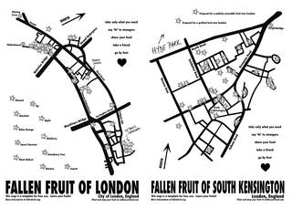 Fruit maps of City of London and South Kensington © Fallen Fruit, 2019