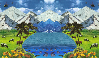 Collage. Mountains in background, glacial lake with fish in flowing into middle. Green grass and shrubbery at sides. Cows