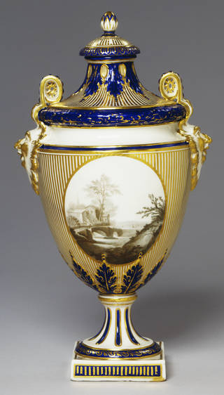 Photo of Vase and cover, Derby Porcelain factory, about 1783 – 84, Derby. Museum no. C.263-1935. © Victoria and Albert Museum, London