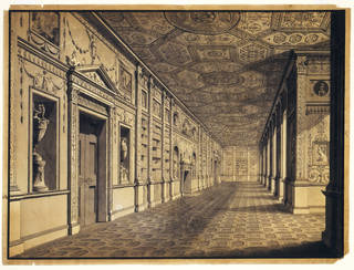 Drawing of a view of the Gallery, or Library, Syon House, Robert Adam, 1763 – 73, London. Museum no. E.1063-1940. © Victoria and Albert Museum, London
