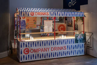 Company Drinks stand. Installation image at FOOD Bigger than the Plate © Company Drinks. Photo Victoria and Albert Museum, London