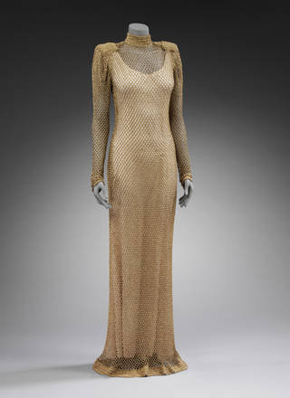 Evening dress of crocheted metallic yarn, Kostio de Warkoffska, 1937, probably made in France. Museum no. T.230&A-1964. © Victoria and Albert Museum, London