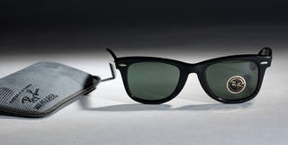 Photo of Wayfarer sunglasses and case, designed by Ray-Ban, manufactured by Bausch & Lomb, 1990, US. Museum no. T.219&A-1990. © Victoria and Albert Museum, London