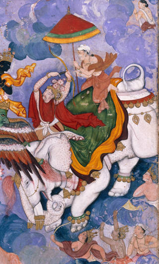The battle between Krishna and Indra is shown to be taking place in the sky above a landscape