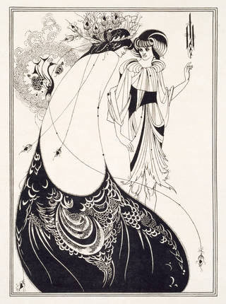 Black and white line block print depicting a woman viewed from the back, in a flowing robe with a dramatic stylised peacock