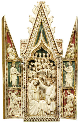 Photo of The Coronation of the Virgin, triptych, 1360 – 70, Venice, Italy, elephant ivory. Museum no. 143-1866. © Victoria and Albert Museum, London