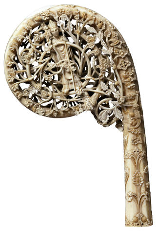 Photo of The Wingfield-Digby Crozier, Late 14th century, Norway (probably Trondheim), carved walrus ivory. Museum no. A.1-2002. © Victoria and Albert Museum, London