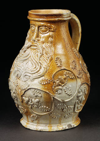 Photo of Bartmann jug, about 1540, Cologne, Germany, salt-glazed stoneware. Museum no. C.9-2002. © Victoria and Albert Museum, London