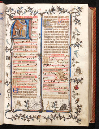 Photo of Manuscript, the 'St Denis Missal', 1350 and 1473 – 80, Paris, pigments and gold on parchment. Museum no. MSL/1891/1346. © Victoria and Albert Museum, London