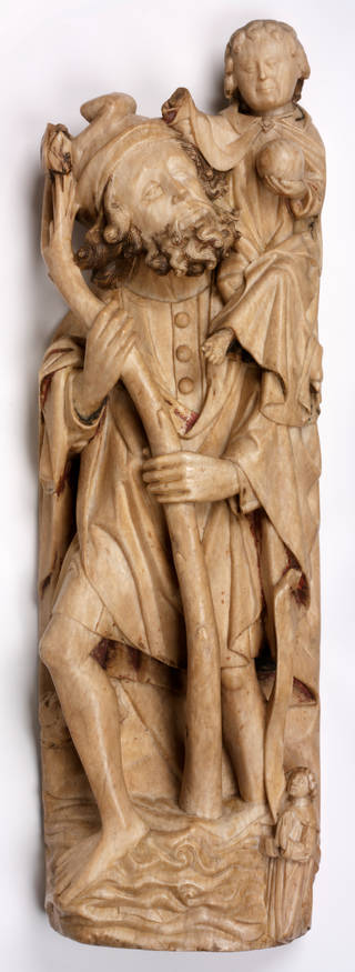 Photo of Relief panel of Saint Christopher, about 1450, England, alabaster. Museum no. A.18-1921. © Victoria and Albert Museum, London