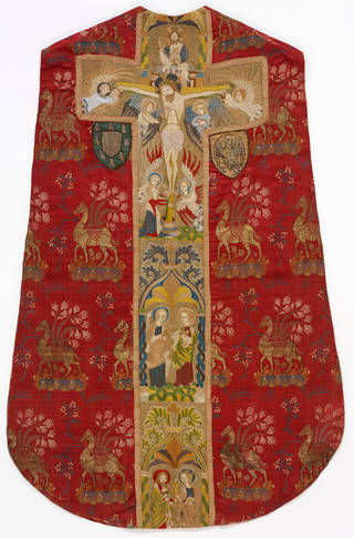 Photo of Chasuble, 1400 – 30, embroidered in England, woven in Italy, silk lampas. Museum no. T.256 to B-1967. © Victoria and Albert Museum, London