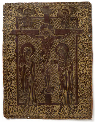Photo of Plaque, 13th century, Meuse, France, copper. Museum no. M.303-1956. © Victoria and Albert Museum, London