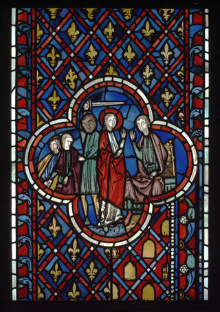 Photo of Stained glass window depicting a scene from the story of Daniel, about 1243 – 48, Ile-de-France. Museum no. 1221-1864. © Victoria and Albert Museum, London