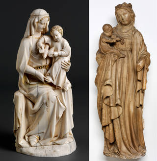 Left to right: Statuette, The Virgin and Child, about 1280 – 1300, Paris, ivory. Museum no. 200-1867. © Victoria and Albert Museum, London; Statue, Virgin and Child, 1390 – 1410, Europe, carved marble. Museum no. A.17-1941. © Victoria and Albert Museum, London