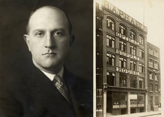 (Left) Portrait of Philip Oliver Goldsmith. (Right) Photograph of the façade of Raphael's, the London optical firm where Philip Oliver Goldsmith worked before founding his own firm. © Oliver Goldsmith Eyewear