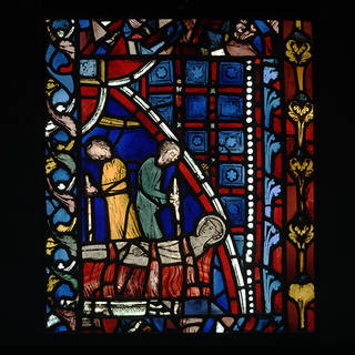 Saint Vincent burnt on the rack, window, unknown, 1240 – 1245, France. Museum no. 8-1881. © Victoria and Albert Museum, London