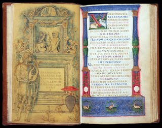 Sonnets and Triumphs, by Petrarch, about 1463 – 64, Padua, Italy. Museum no. MSL/1947/101, ff. 9v–10r. © Victoria and Albert Museum, London
