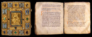 Sion Gospels, unknown maker, about 1025 – 50 (manuscript) and about 1200 (binding), Switzerland. Museum no. 567-1893, front cover and ff. 163v–164r. © Victoria and Albert Museum, London