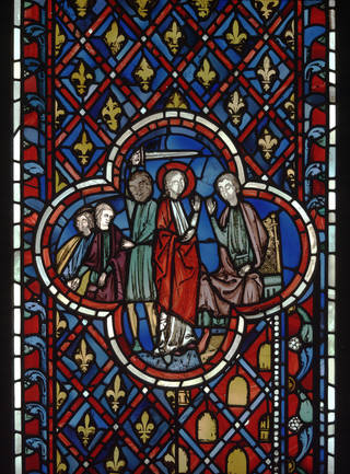 Stained glass window depicting a scene from the story of Daniel, from the Sainte Chapelle, Paris, about 1243 – 48, Ile-de-France. Museum no. 1221-1864. © Victoria and Albert Museum, London
