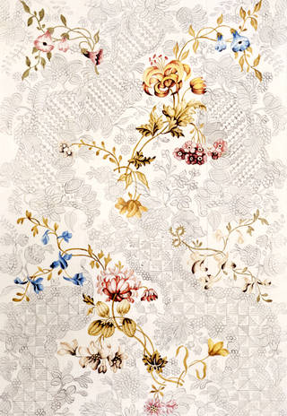 Photo of Design for a woven silk made by Anna Maria Garthwaite, 1749, Spitalfields, London. Museum no. 5987:1. © Victoria and Albert Museum, London
