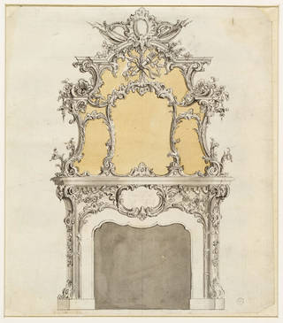 Photo of Design for a chimney piece, plate no. 179 in The Gentleman and Cabinet-Maker's Director, Thomas Chippendale, about 1753 – 62, London. Museum no. D.703-1906. © Victoria and Albert Museum, London
