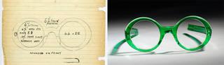 (Left): Sketch for the 1964 frame 'Goo-Goo' © Oliver Goldsmith Eyewear. (Right): Goo-Goo, glasses, Oliver Goldsmith Eyewear, 1964, England. Museum no. T.244S-1990. © Victoria and Albert Museum, London