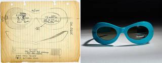 (Left): Sketch for the 1960s frame 'Ogle' © Oliver Goldsmith Eyewear. (Right): Ogle, sunglasses, Oliver Goldsmith Eyewear, 1969, England. Museum no. T.244G-1990. © Victoria and Albert Museum, London