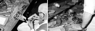 Frame-makers at the Oliver Goldsmith workshop, 1966. © Oliver Goldsmith Eyewear