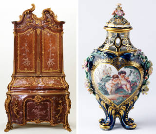 Left to right: Writing cabinet, probably Michael Kimmel, 1750 – 55, Dresden, Germany. Museum no. W.63-1977. © Victoria and Albert Museum, London; Vase, Chelsea porcelain factory, about 1758 – 68. Museum no. 828-1882. © Victoria and Albert Museum, London