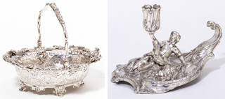 Left to right: Basket, Paul de Lamerie, 1742 – 43, London, England, silver. Museum no. M.6-2001. © Victoria and Albert Museum, London; Chamber candlestick, Paul Crespin, 1744 – 45, London, silver. Museum no. M.2-1980. © Victoria and Albert Museum, London