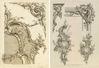 Left to right: Prints from 'A New Book Of Ornaments With Twelve Leaves', Matthias Lock and Henry Copland, 1752, London, England. Museum nos. E.2809-1886 and E.2810-1886. © Victoria and Albert Museum, London