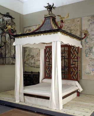 Photo of The Badminton Bed, designed by John Linnell, made by William Linnell, about 1754, London. Museum no. W.143:1 to 26-1921. © Victoria and Albert Museum, London