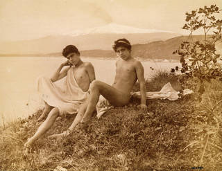 'Two seated Sicilian youths', photograph, Wilhelm von Gloeden, 19th century, Germany. Museum no. 2815-1952. © Victoria and Albert Museum, London