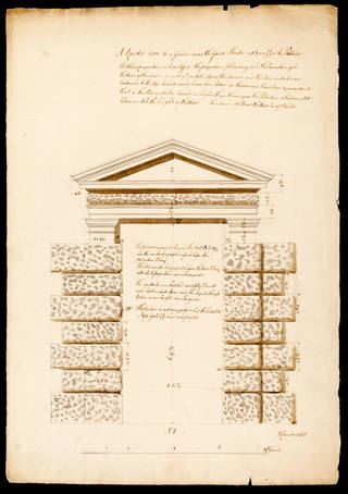 Photo of Drawing, measured elevation of a rusticated doorway to the Garden near the Great Theatre at Vicenza by Palladio, Sir William Chambers, about 1755, England. Museum no. E.3235-1934. © Victoria and Albert Museum, London