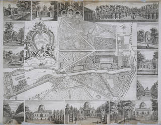 Photo of Plan du Jardin & Vue des Maisons de Chiswick, designed and engraved by Jean Rocque, 1736, London, England. Museum no. E.352-1944. © Victoria and Albert Museum, London