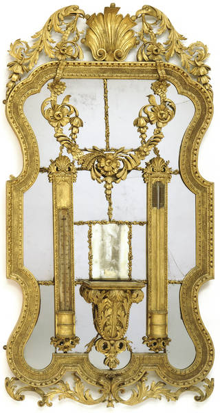 Photo of Mirror, with barometer and clock shelf, unknown maker, 1730 – 35, London. Museum no. W.44:1 to 4-1927. © Victoria and Albert Museum, London