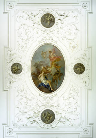 Photo of Ceiling from the drawing room of No. 11, Henrietta Place, London, designed by James Gibbs, about 1727 – 30, London, England. Museum no. W.5-1960. © Victoria and Albert Museum, London