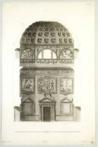 Preliminary design for Lord Burlington's house at Chiswick, from 'The Designs of Inigo Jones Consisting of Plans and Elevations for Publick [sic] and Private Buildings', plate 72, drawn by William Kent, 1727, London. Museum no. 12957:33. © Victoria and Albert Museum, London