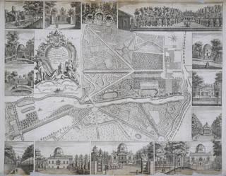 Plan du Jardin & Vue des Maisons de Chiswick, designed and engraved by Jean Rocque, 1736, London. Museum no. E.352-1944. © Victoria and Albert Museum, London