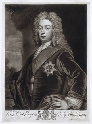 Portrait of Richard Boyle, 3rd Earl of Burlington, engraved by John Faber, after Sir Godfrey Kneller, 1734, London. Museum no. E.430-1898. © Victoria and Albert Museum, London