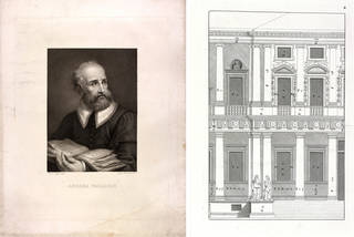 Left to right: Portrait of Andrea Palladio, print by Vincenzo Raggio and Jacopo Bernardi, before 20th century, Britain. Museum no. S.462-2009. © Victoria and Albert Museum, London; Page from English translation of 'The four books of Andrea Palladio's Architecture', Andrea Palladio, 1738, London. Museum no. 38041800160228. © Victoria and Albert Museum, London