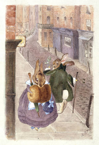 Lady rabbit and gentleman rabbit passing on the street, design for a Christmas card by Beatrix Potter, June 1890, London, watercolour and pen and ink. Museum no. BP.443(a), Linder Bequest cat. no. LB 1769. © Image courtesy Frederick Warne & Co Ltd.