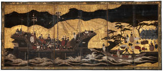 Six fold screen depicting arrival of a Portuguese Ship, maker unknown, 1600 – 30, Japan. Museum no. 803-1892. © Victoria and Albert Museum, London
