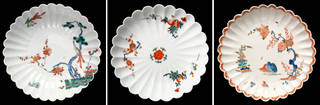 (Left to right:) Kakiemon-style dish with 'Three Friends of Winter' design, 1690 – 1720, Arita, Japan. Museum no. FE.83-1970, © Victoria and Albert Museum, London; Saucer, Meissen porcelain factory, 1729 – 1731. Museum no. C.575&A-1922, © Victoria and Albert Museum, London; Plate with partridge design, Bow porcelain factory, London, about 1755. Museum no. C.1005-1924, © Victoria and Albert Museum, London