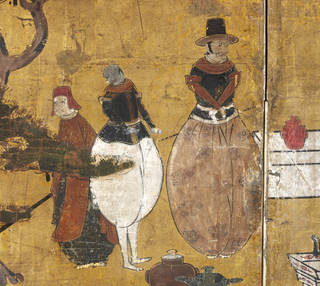Six fold screen depicting arrival of a Portuguese ship (detail), maker unknown, 1600 – 30, Japan. Museum no. 803-1892. © Victoria and Albert Museum, London