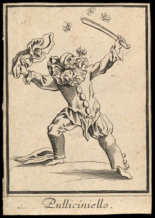 Print depicting the Commedia dell'Arte character Pulliciniello (Pulcinella), by Cornelis Danckerts ll after Jacques Callot, about 1622, Europe. Museum no. S.5290-2009. © Victoria and Albert Museum, London