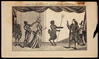 Print depicting Samuel Foote's The Primitive Puppet Show, Haymarket Theatre, 15 February 1773, published in The Macaroni and Theatrical Magazine, February 1773. Museum no. S.1004-2010. © Victoria and Albert Museum, London