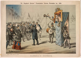 'Parnell's Puppets', printed for the St. Stephen's Review Presentation Cartoon, November 1st, 1884, London. Museum no. S.1291-2010. © Victoria and Albert Museum, London