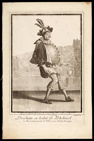 French ancestor of Mr Punch, 'Deschars en habit de Polichinel au Divertissement de Villeneuue Saint-Georges', by Jean Berain, early 18th century, Paris. Museum no. S.3837-2009. © Victoria and Albert Museum, London